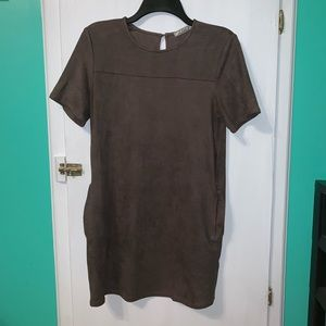 Brown Chloe K Suede-Like Dress